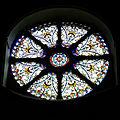 Castle Hedingham, St Nicholas' Church, Essex England, chancel east wheel window interior.jpg