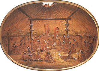 Hazing - Native American okipa ceremony as witnessed by George Catlin, circa 1835
