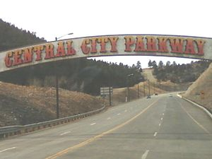 Central City Parkway - Central City Parkway archway upon entering from I-70