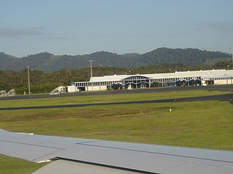 Coffs Harbour Airport - View of the airport terminal from the runway