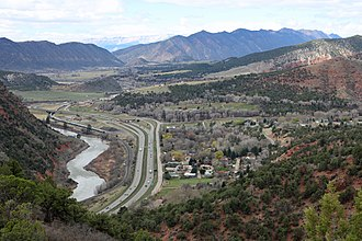Chacra, Colorado - Chacra (on the right) and Interstate-70, and the Colorado River.