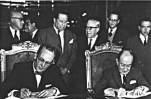 A black and white photograph of two mature and formally dressed men seated in chairs, signing some papers over a large table while a group of six men in suits stand behind their seats.