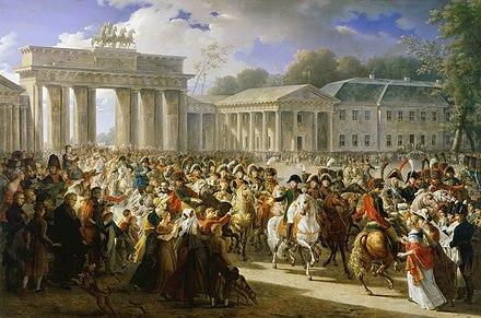 After defeating Prussian forces at Jena, the Grande Armee entered Berlin on 27 October 1806 Charles Meynier - Entree de Napoleon a Berlin. 27 octobre 1806.jpg