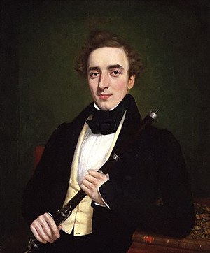 Irish flute - Charles Nicholson with flute, 1834 portrait