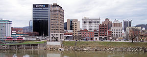 2014 Elk River chemical spill - Charleston's downtown skyline (pictured) viewed from the south bank of the Kanawha River, of which the Elk River is a tributary.