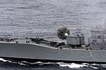 Chilean frigate Almirante Condell fires guns in 1999.JPEG