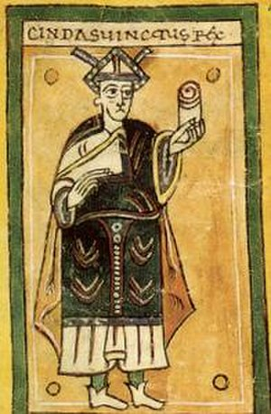 Chindasuinth - Chindasuinth as portrayed, holding the law, in the tenth-century Codex Vigilanus.