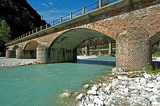 Chiusaforte - Road and railway bridges crossing the Fella River