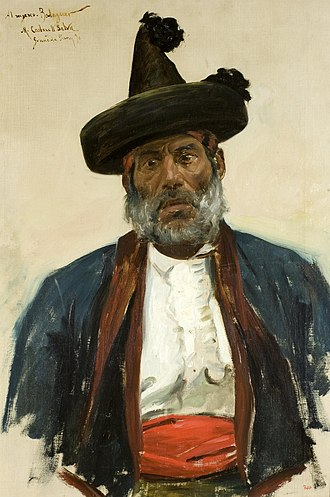 """Miquel Carbonell Selva - Portrait of  Mariano Fernández, known as """"Chorrojumo, King of the Gypsies"""". (1890)"""