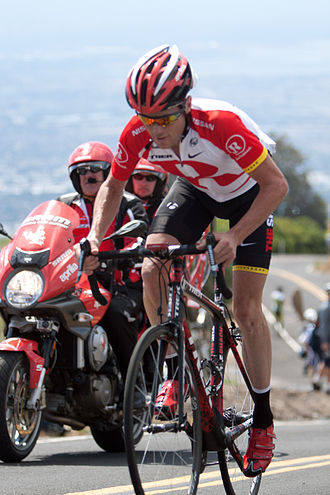 2011 Tour of California - Chris Horner riding solo on the stage's final climb, the ascent  of Sierra Road. His victory by over a minute helped him to take the yellow jersey as the leader of the general classification.