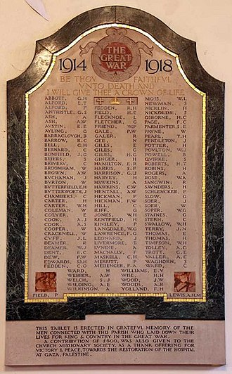 Christ Church, Barnet - First World War wall monument