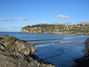 Scarborough, New Zealand - Scarborough seen from Sumner beach; Nicholson Park is the area to the left just below the ridgeline