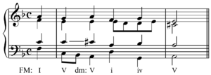 Relative key - Image: Chromatic modulation in Bach BWV 300, m. 5 6