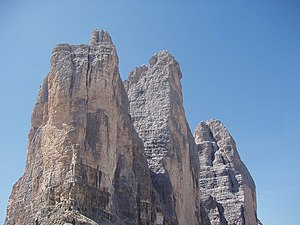 Mo Anthoine - The Tre Cime di Lavaredo. Anthoine and Alvarez bivouacked a third of the way up the north face of the central peak, Cima Grande.