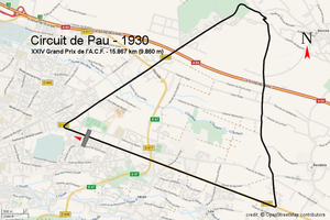 1930 French Grand Prix - Image: Circuit pau 1930 (openstreetmap)
