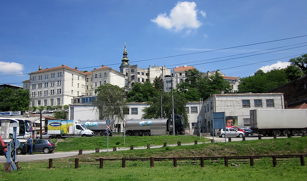 City of Belgrade with St. Michael's Cathedral (Саборна Црква), seen from the Sava river bank - panoramio.jpg
