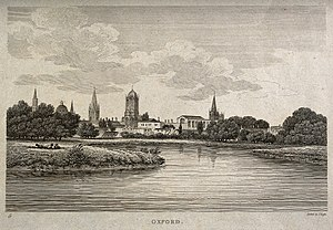 Roffe engraving families of London - Image: City of Oxford; view from the Cherwell. Etching by J. Roffe. Wellcome V0014236