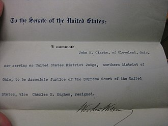 John Hessin Clarke - Clarke's Supreme Court nomination