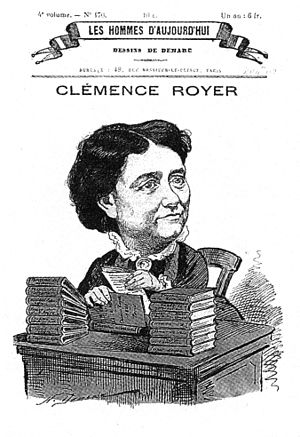 Clémence Royer - Caricature of Clémence Royer from Les Hommes d'aujourd'hui published in 1881.