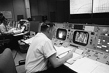 Cliff Charlesworth at his console during the Apollo 8 lunar mission, 21. December 1968.jpg