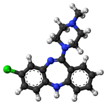 Stick-and-ball model of the clozapine molecule