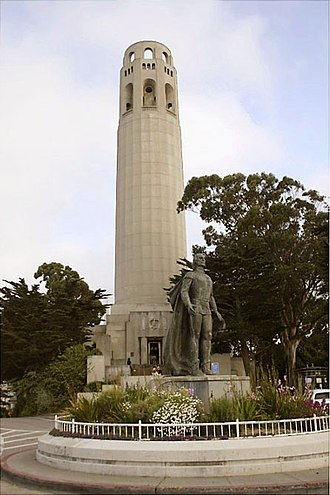 Coit Tower - Coit Tower with statue of Columbus in foreground