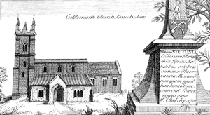 Colsterworth - A drawing of St John the Baptist's church, by the antiquarian William Stukeley, 1722