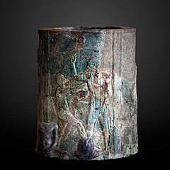 Column fragment decorated with musicians-E 11522