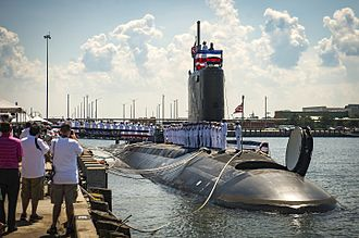 Virginia-class submarine - USS John Warner at her commissioning ceremony on 1 August 2015, with forward Virginia Payload Tube hatch open