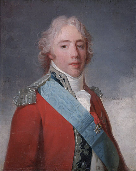 Charles as Count of Artois in 1798. Portrait by Henri-Pierre Danloux Comte d'Artois, later Charles X of France, by Henri Pierre Danloux.jpg