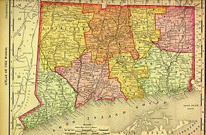 Connecticut - 1895 map from Rand McNally