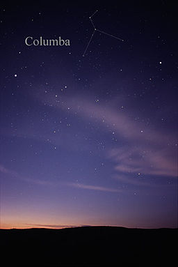 The constellation Columba as it can be seen by the naked eye ...