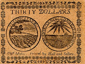 Continental Currency $30 banknote reverse (November 2, 1776).jpg
