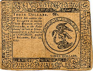 Continental Currency $3 banknote obverse (February 26, 1777).jpg