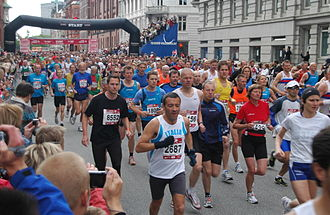 Copenhagen Marathon - The start of the mass race in 2008