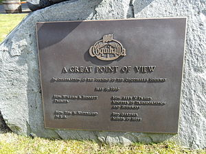 British Columbia Highway 5 - A plaque commemorating the opening of the Coquihalla Highway in Hope, British Columbia.