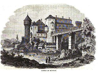 Corvin Castle - Drawing of the castle from the mid-19th century