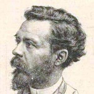 Cosme San Martín - Cosme San Martín; caricature by Luis Fernando Rojas. (Detail from the cover of La Revista Cómica, 1896)