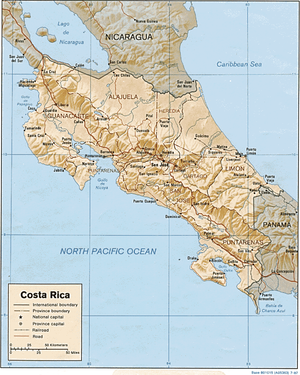 Geography of Costa Rica - Shaded relief map of Costa Rica.