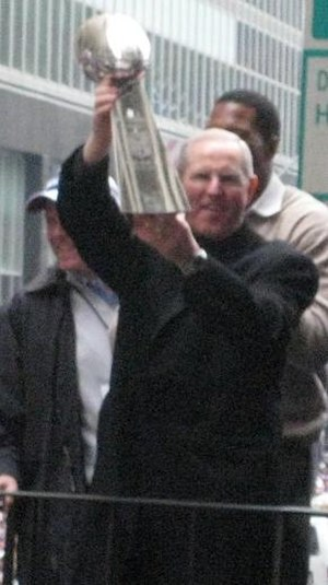 Tom Coughlin - Coughlin at the New York Giants Super Bowl Ticker Tape parade in New York City Feb 5, 2008