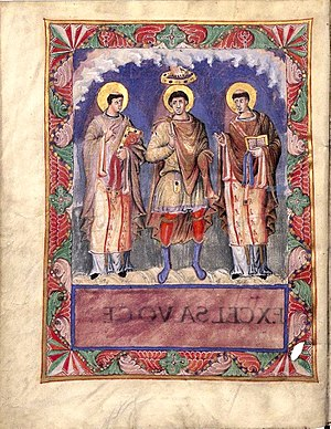 Christianity in the 8th century - 9th century depiction of Charles the Bald with popes Gelasius I and Gregory the Great