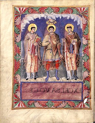 Adventius, Bishop of Metz - The image of the Sacramentaire de Charles le Chauve has been interpreted by some as displaying Charles the Bald flanked by Archbishop Hincmar of Rheims and Bishop Adventius of Metz