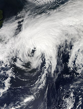 Extratropical cyclone - Hurricane Cristobal (2014) in the north Atlantic after completing its transition to an extratropical cyclone from a hurricane