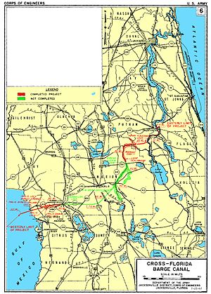 Cross Florida Barge Canal - A map of the Cross Florida Barge Canal as planned and built.