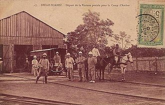 Decauville railway at Diégo Suarez - Departure of the post train in Antsirane