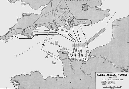 Routes taken by the D-Day invasion. D-day allied assault routes.jpg
