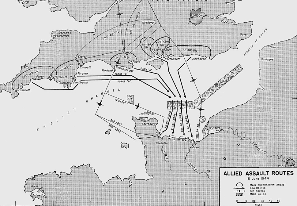 D-day allied assault routes