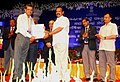 D.V. Sadananda Gowda gave away the National Award for Outstanding Service – 2014, at the inauguration of the 59th Annual Railway National Awards Function – 2014, in Bangalore. The Chairman, Railway Board.jpg