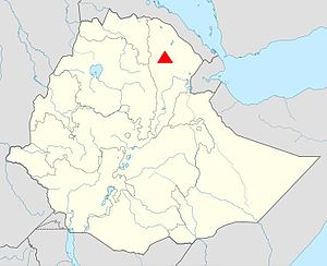 Dabbahu Volcano - Location of the Dabbahu Volcano within Ethiopia