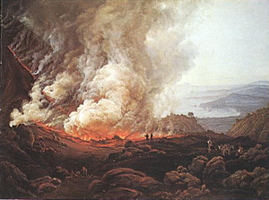 Eruption of Vesuvius. Painting by Norwegian pa...